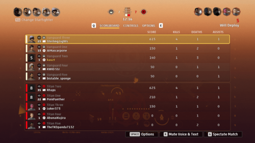 Lobby scoreboard screenshot of Star Wars: Squadrons video game interface.