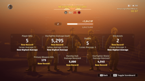 Match summary screenshot of Star Wars: Squadrons video game interface.