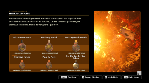 Mission summary screenshot of Star Wars: Squadrons video game interface.