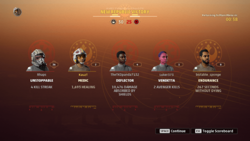 Player stats screenshot of Star Wars: Squadrons video game interface.