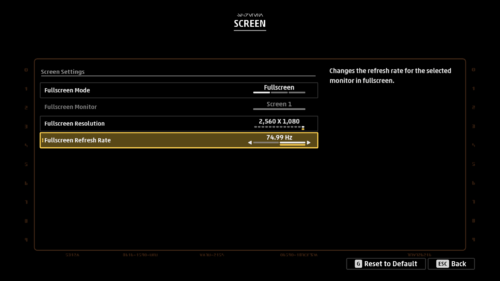 Screen settings screenshot of Star Wars: Squadrons video game interface.