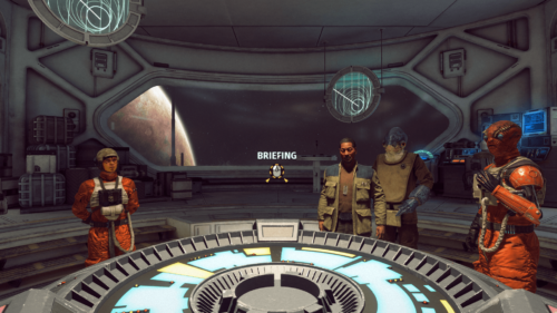 Start briefing screenshot of Star Wars: Squadrons video game interface.