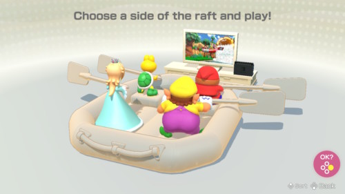 Choose a side screenshot of Super Mario Party video game interface.