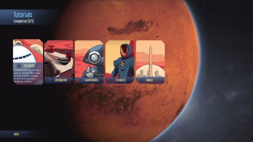 Select tutorials screenshot of Surviving Mars video game interface.