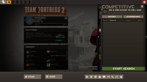 Competitive server screenshot of Team Fortress 2 video game interface.