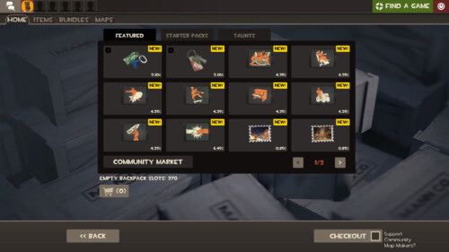 Featured item screenshot of Team Fortress 2 video game interface.