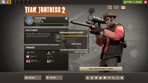 Keyboard advanced screenshot of Team Fortress 2 video game interface.