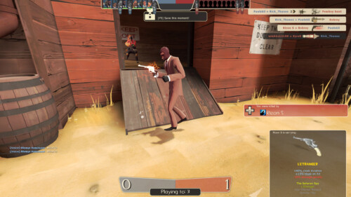 Kill feed screenshot of Team Fortress 2 video game interface.