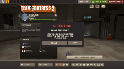 Leave game screenshot of Team Fortress 2 video game interface.
