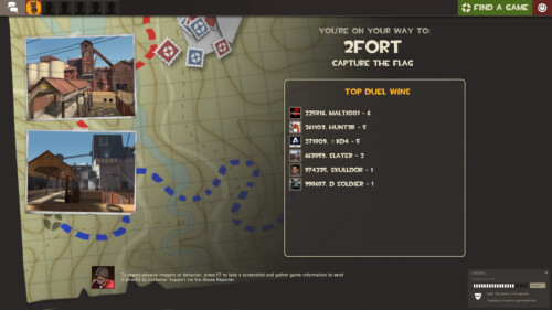 Loading map screenshot of Team Fortress 2 video game interface.