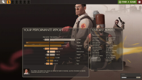 Loading screen screenshot of Team Fortress 2 video game interface.