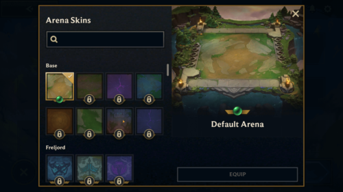 Arena Skins screenshot of Teamfight Tactics Mobile video game interface.