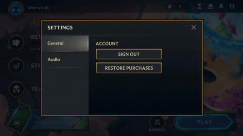 General settings screenshot of Teamfight Tactics Mobile video game interface.