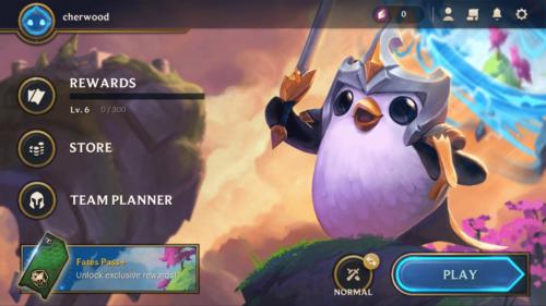 Main menu screenshot of Teamfight Tactics Mobile video game interface.