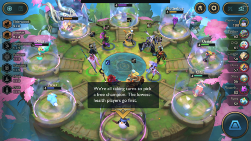 Pick a free champion screenshot of Teamfight Tactics Mobile video game interface.