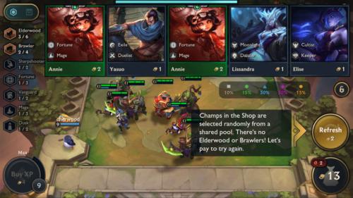 Refresh champion screenshot of Teamfight Tactics Mobile video game interface.
