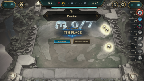 You finished 4th place screenshot of Teamfight Tactics Mobile video game interface.
