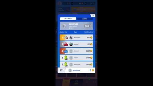 League Ranking screenshot of Tennis Clash video game interface.