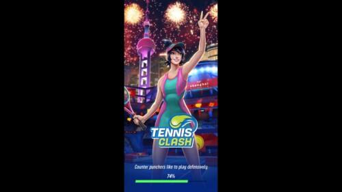 Loading Screen screenshot of Tennis Clash video game interface.