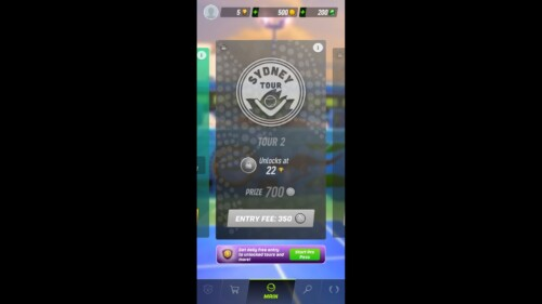 Locked Venue screenshot of Tennis Clash video game interface.