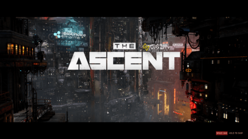 Logo screenshot of The Ascent video game interface.