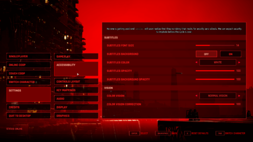 Accessibility screenshot of The Ascent video game interface.