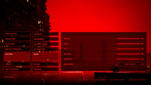 Audio screenshot of The Ascent video game interface.