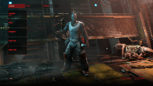 Character screenshot of The Ascent video game interface.