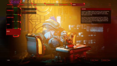 Codex screenshot of The Ascent video game interface.