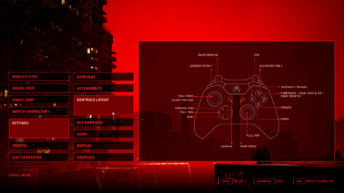 Controller Map screenshot of The Ascent video game interface.