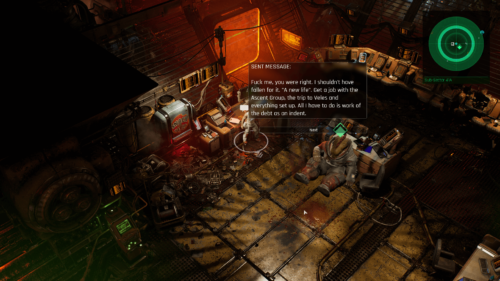 Dialogue screenshot of The Ascent video game interface.