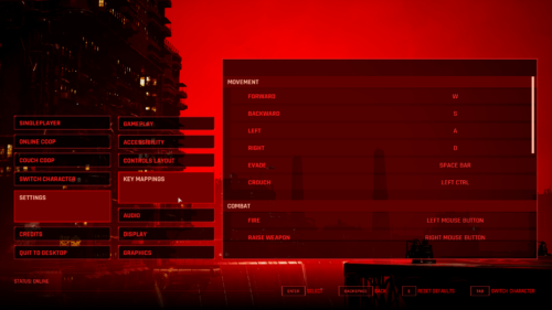 Keyboard Map screenshot of The Ascent video game interface.