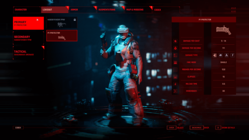 Loadout screenshot of The Ascent video game interface.
