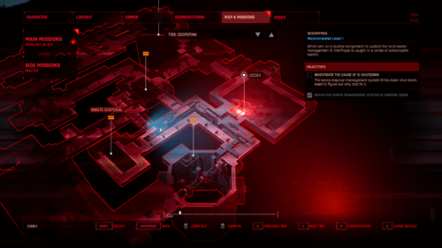Map screenshot of The Ascent video game interface.