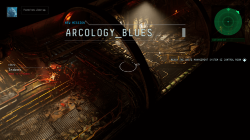Mission screenshot of The Ascent video game interface.