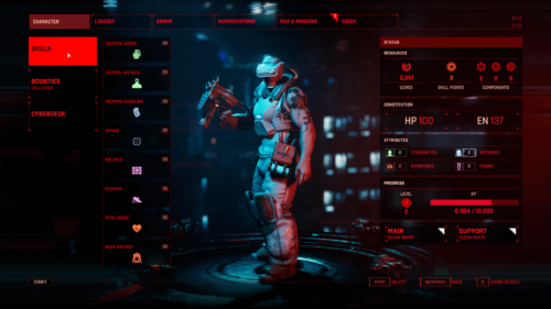 Skill Tree screenshot of The Ascent video game interface.