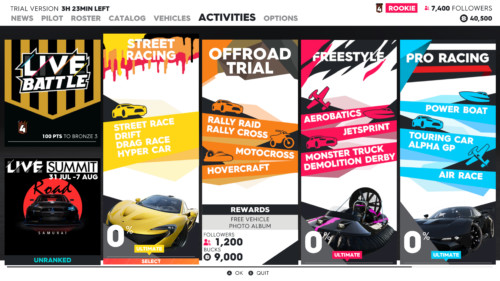 Activities screenshot of The Crew 2 video game interface.