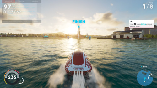 Boat screenshot of The Crew 2 video game interface.