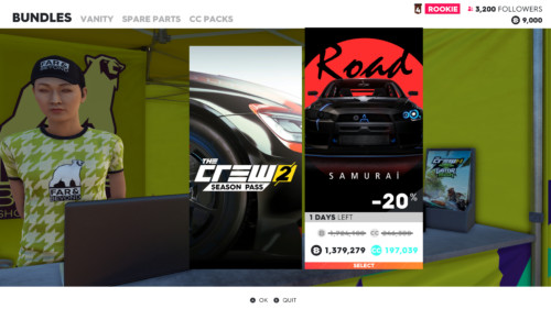 Bundles screenshot of The Crew 2 video game interface.