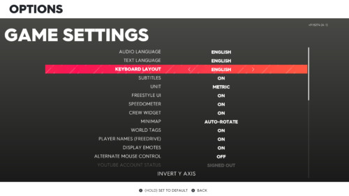 Game settings screenshot of The Crew 2 video game interface.