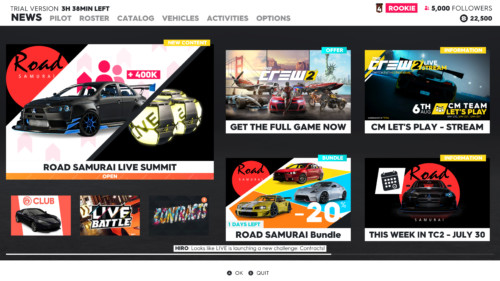 News screenshot of The Crew 2 video game interface.