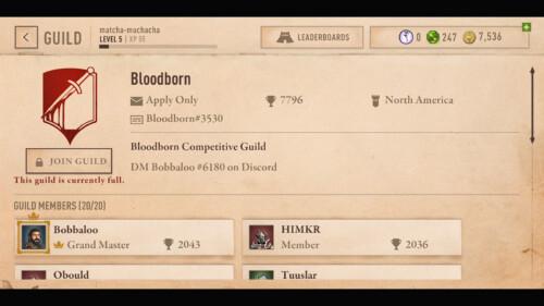 Arena Guild Detail screenshot of The Elder Scrolls: Blades video game interface.