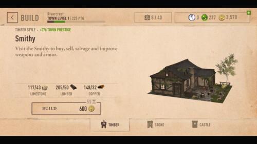Building Menu screenshot of The Elder Scrolls: Blades video game interface.