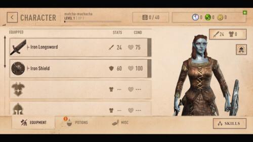 Character Menu screenshot of The Elder Scrolls: Blades video game interface.