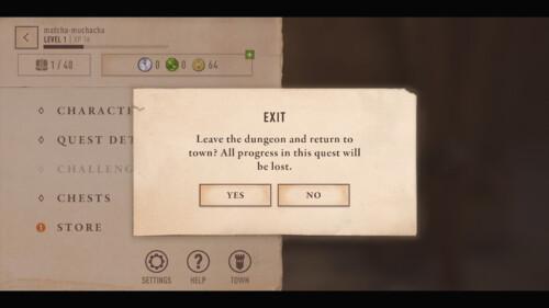 Quest Exit Modal screenshot of The Elder Scrolls: Blades video game interface.