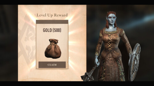 Rewards Level Up screenshot of The Elder Scrolls: Blades video game interface.
