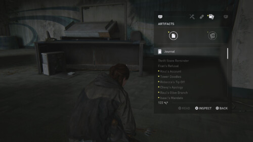 Artifacts screenshot of The Last of Us Part II video game interface.