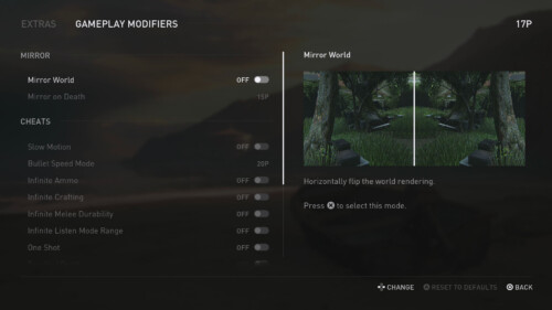 Extras Gameplay Mods screenshot of The Last of Us Part II video game interface.