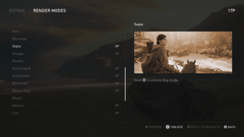 Extras Render Modes screenshot of The Last of Us Part II video game interface.