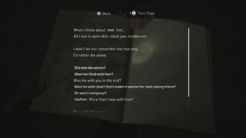 Journal Reading Detail screenshot of The Last of Us Part II video game interface.